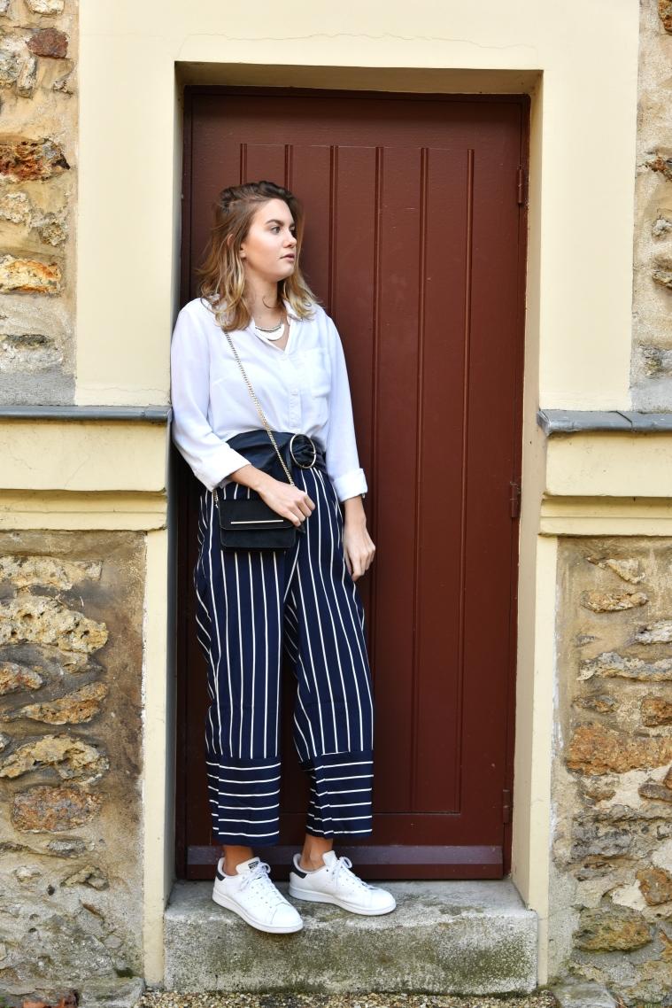 pantalon rayure bleu marine shein 001