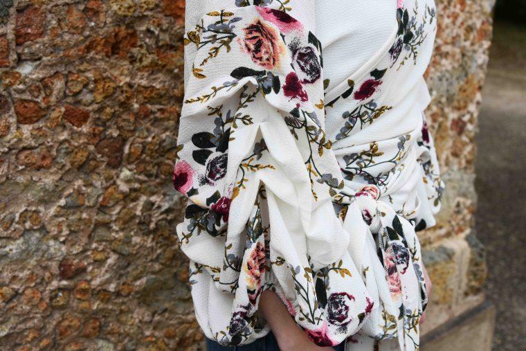 Haut fleurs manche retroussés shein 006